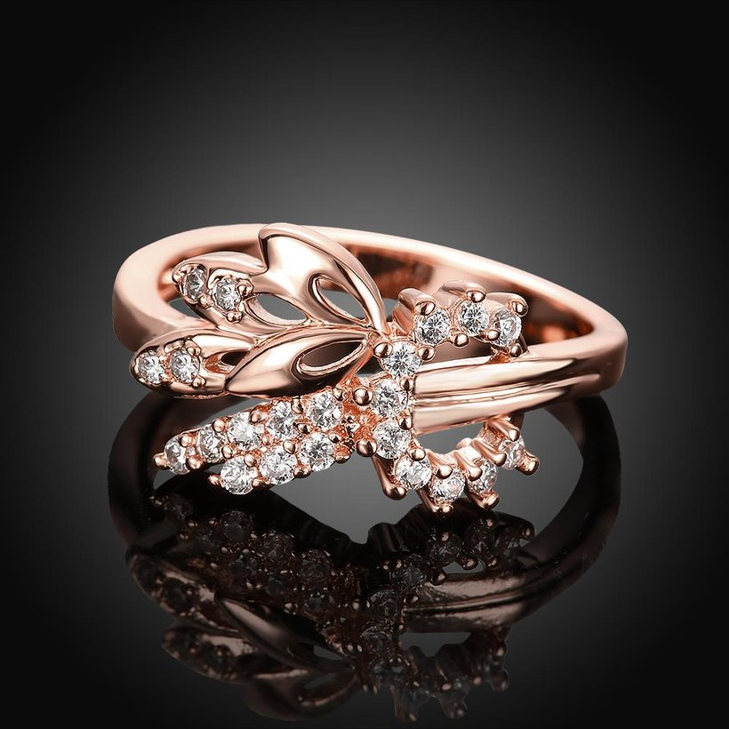 Wholesale Romantic Rose Gold Plant White CZ Ring TGGPR299 1