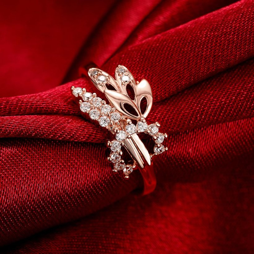 Wholesale Romantic Rose Gold Plant White CZ Ring TGGPR299 2