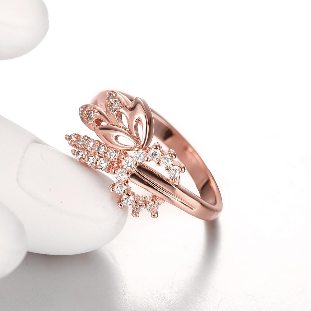 Wholesale Romantic Rose Gold Plant White CZ Ring TGGPR299 3
