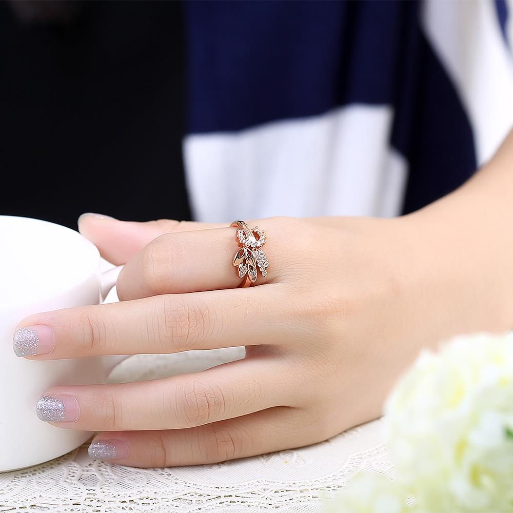 Wholesale Romantic Rose Gold Plant White CZ Ring TGGPR299 4