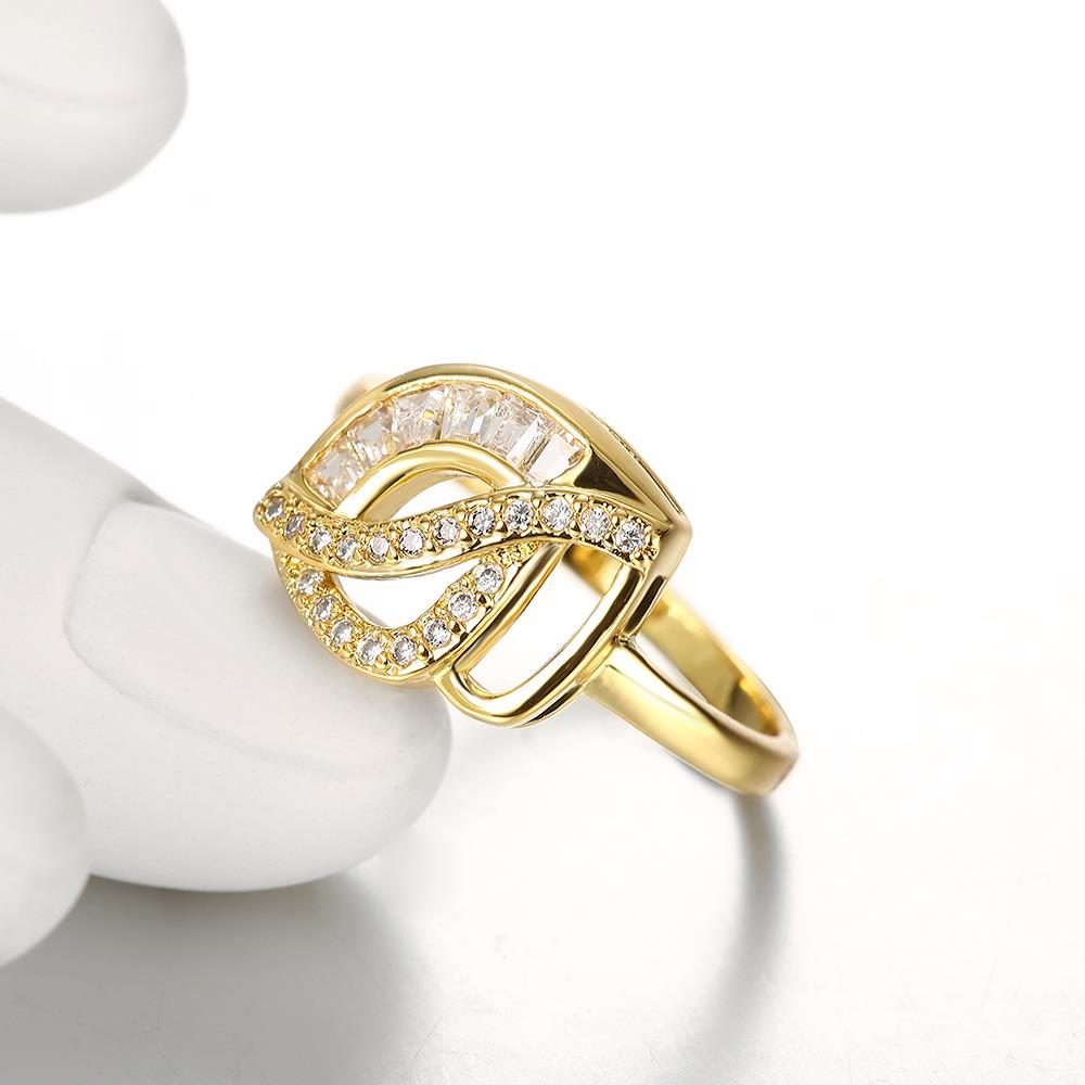 Wholesale Classic 24K Gold Geometric White CZ Ring TGGPR306 2