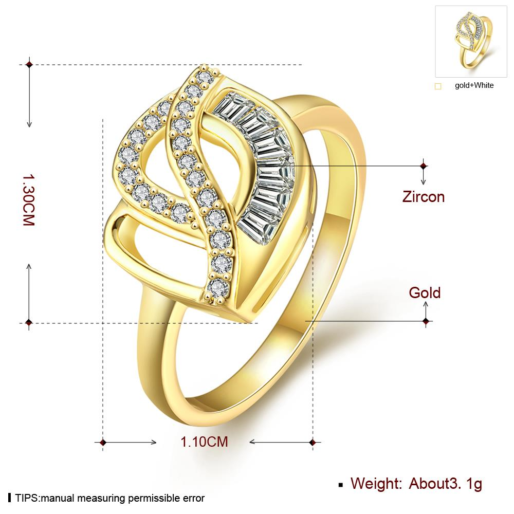 Wholesale Classic 24K Gold Geometric White CZ Ring TGGPR306 3