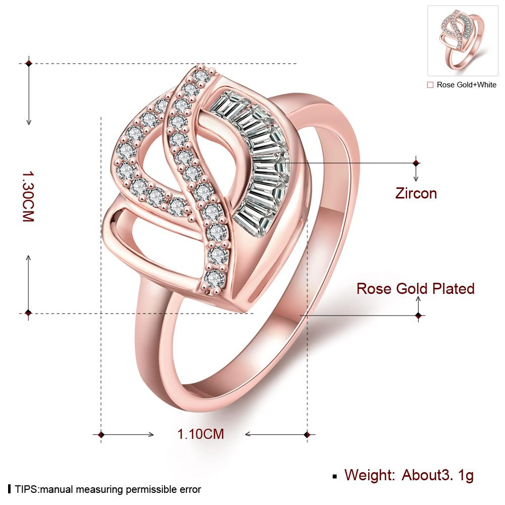 Wholesale Classic Rose Gold Geometric White CZ Ring TGGPR314 0