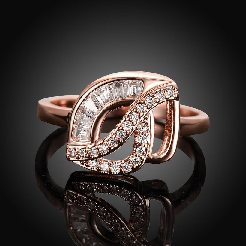 Wholesale Classic Rose Gold Geometric White CZ Ring TGGPR314 1