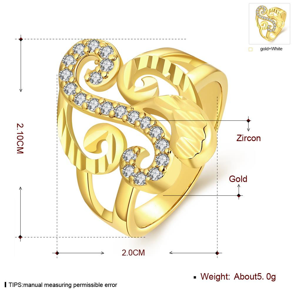 Wholesale Trendy 24K Gold Geometric White CZ Ring TGGPR322 0
