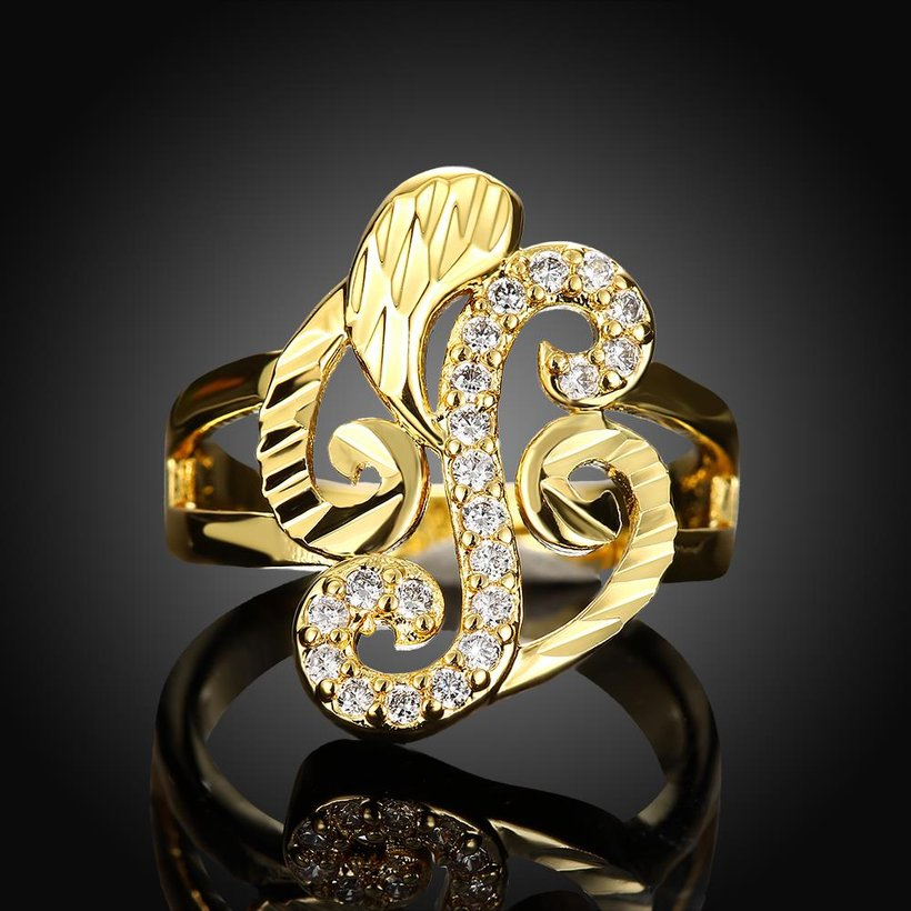 Wholesale Trendy 24K Gold Geometric White CZ Ring TGGPR322 1