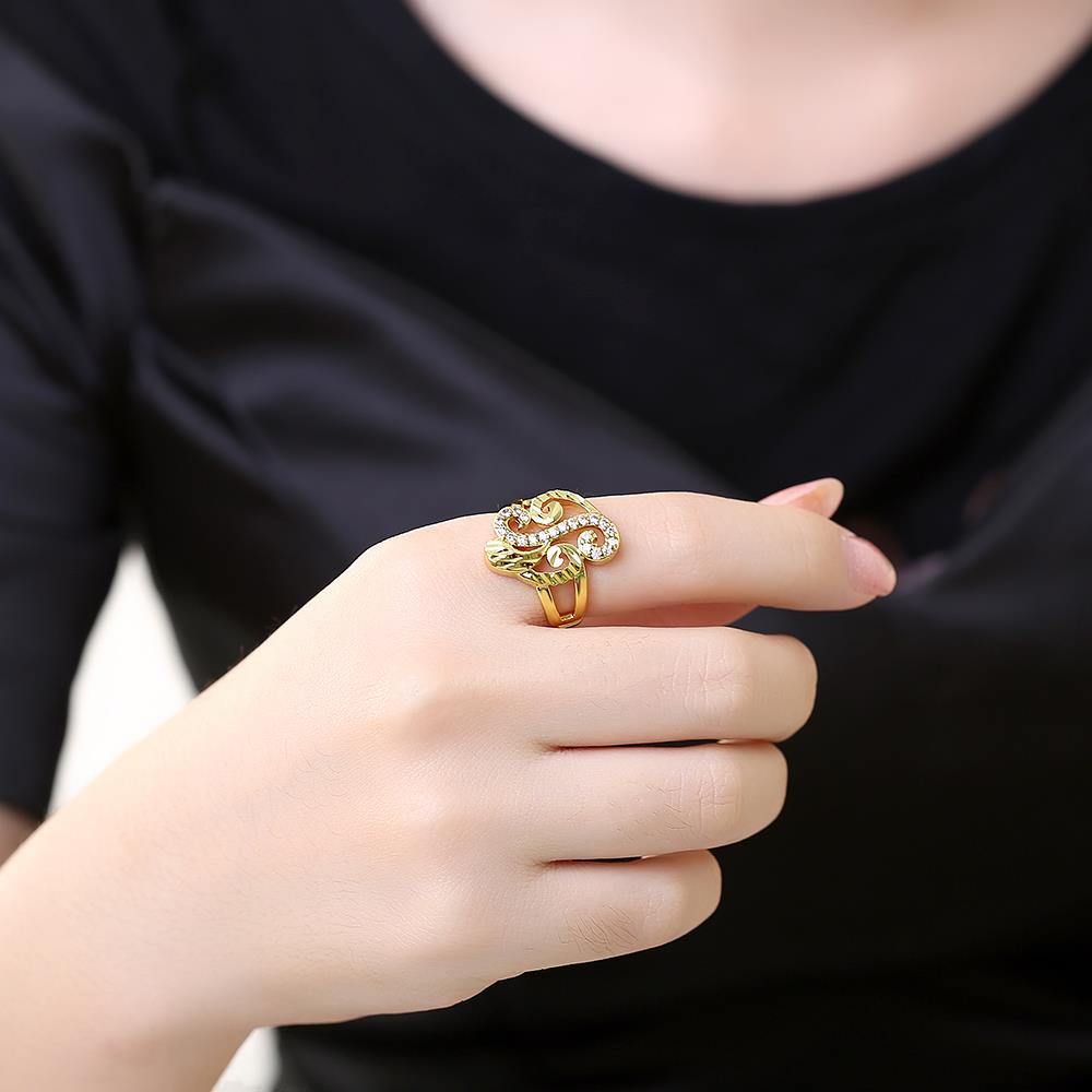 Wholesale Trendy 24K Gold Geometric White CZ Ring TGGPR322 4