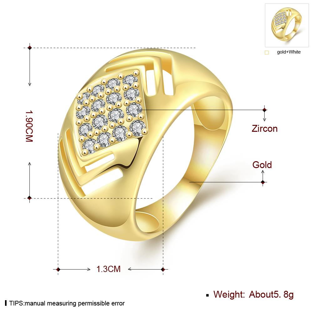Wholesale Classic 24K Gold Geometric White CZ Ring TGGPR336 0