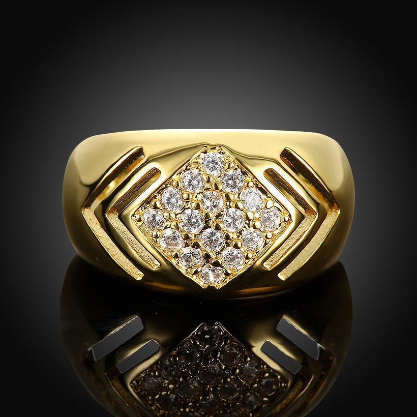 Wholesale Classic 24K Gold Geometric White CZ Ring TGGPR336 1