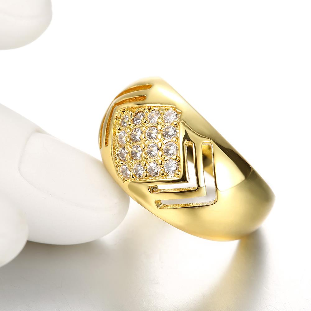 Wholesale Classic 24K Gold Geometric White CZ Ring TGGPR336 3