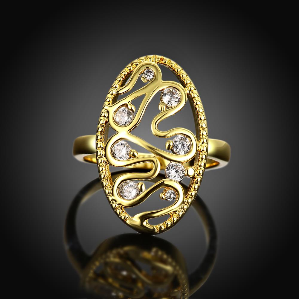 Wholesale Romantic 24K Gold Water Drop White CZ Ring TGGPR378 1