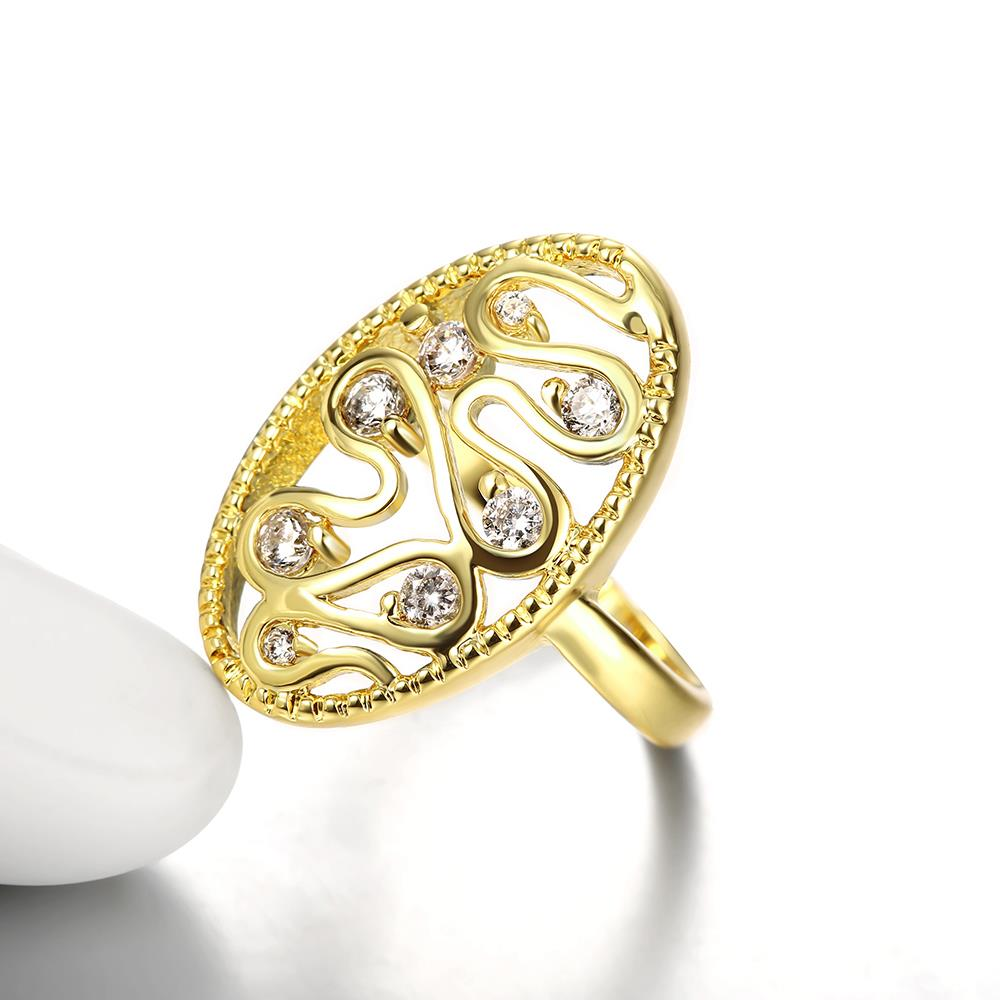 Wholesale Romantic 24K Gold Water Drop White CZ Ring TGGPR378 3
