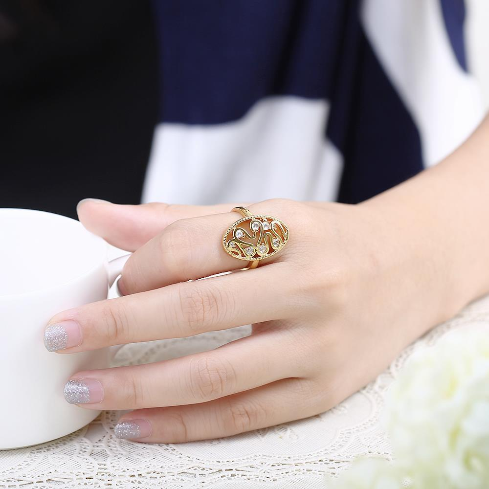 Wholesale Romantic 24K Gold Water Drop White CZ Ring TGGPR378 4