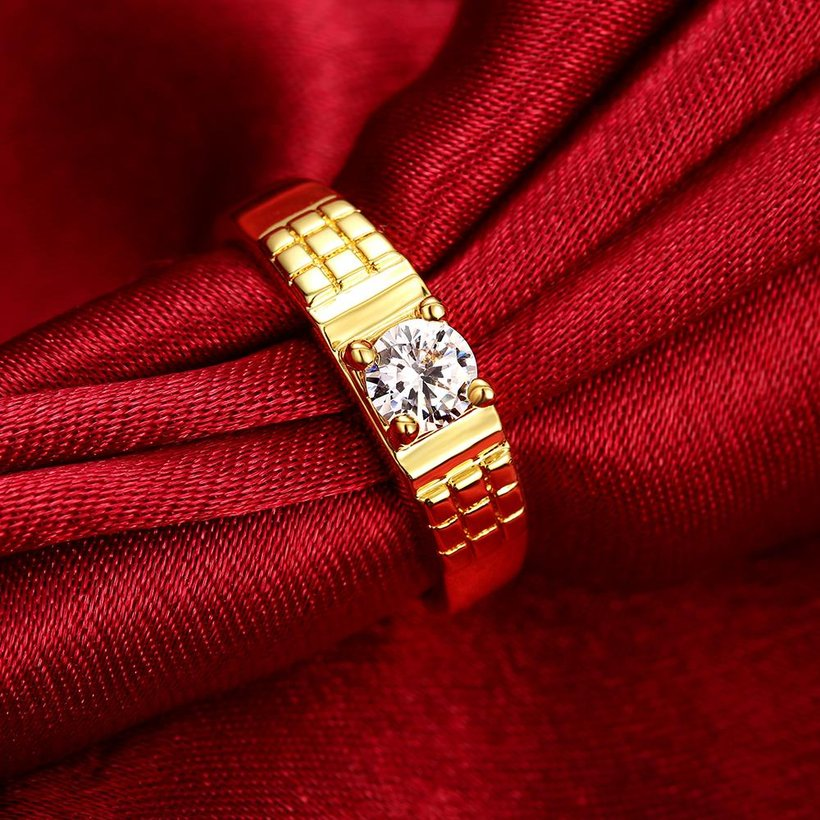 Wholesale Romantic 24K Gold Geometric White CZ Ring TGGPR391 0