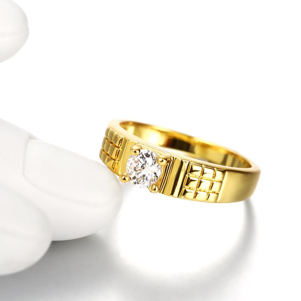 Wholesale Romantic 24K Gold Geometric White CZ Ring TGGPR391 1