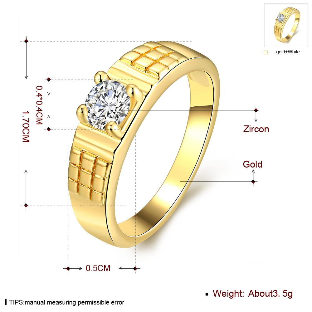 Wholesale Romantic 24K Gold Geometric White CZ Ring TGGPR391 2