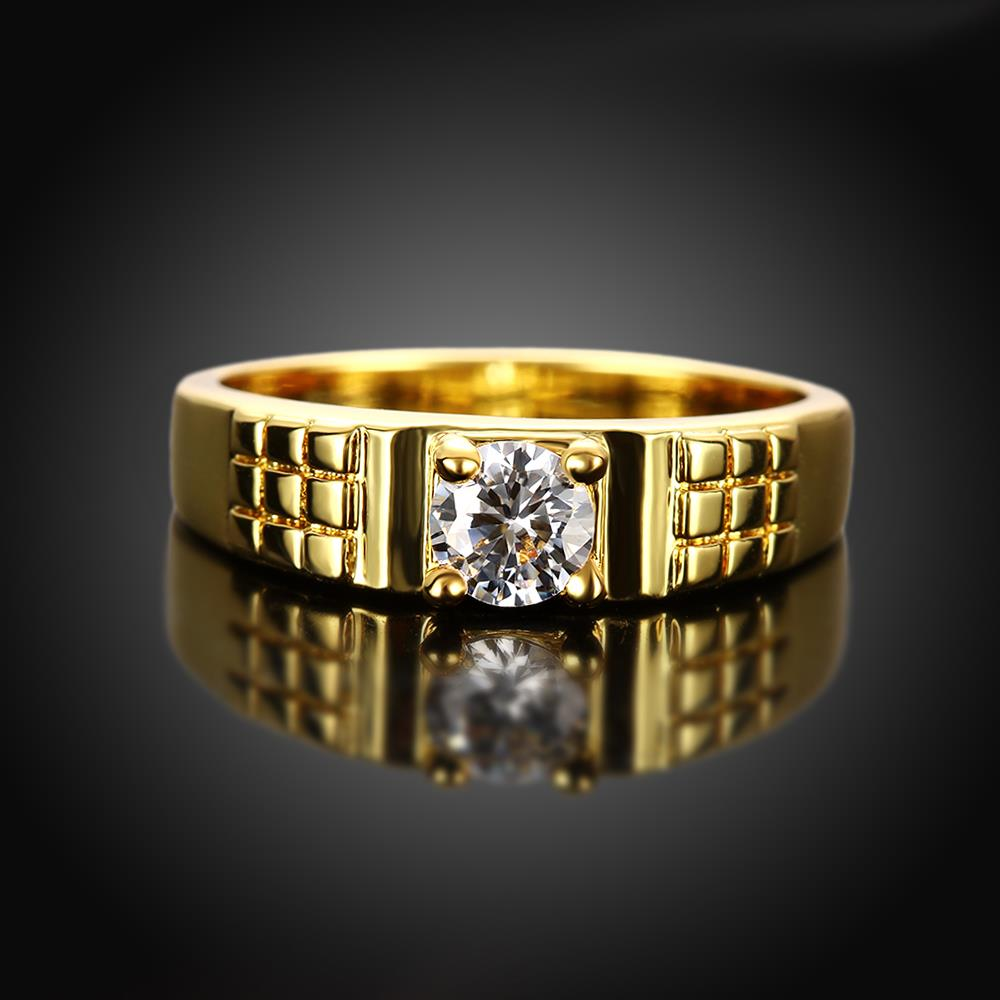Wholesale Romantic 24K Gold Geometric White CZ Ring TGGPR391 3