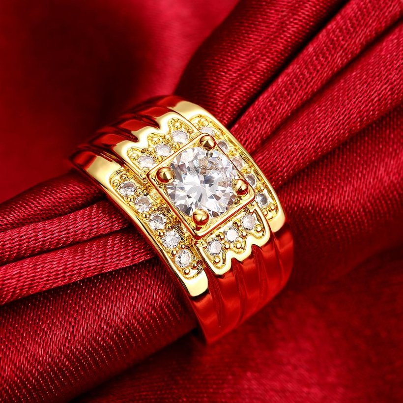 Wholesale Classic 24K Gold Geometric White CZ Ring TGGPR402 0