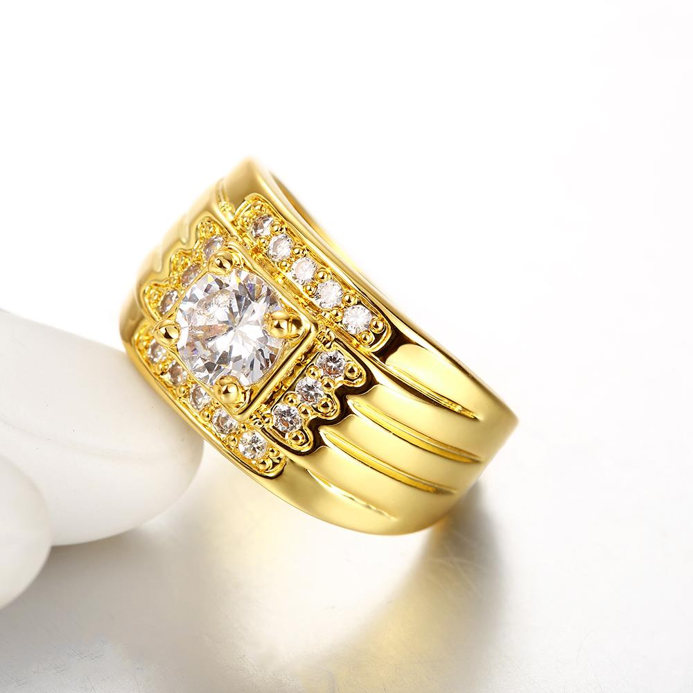 Wholesale Classic 24K Gold Geometric White CZ Ring TGGPR402 1
