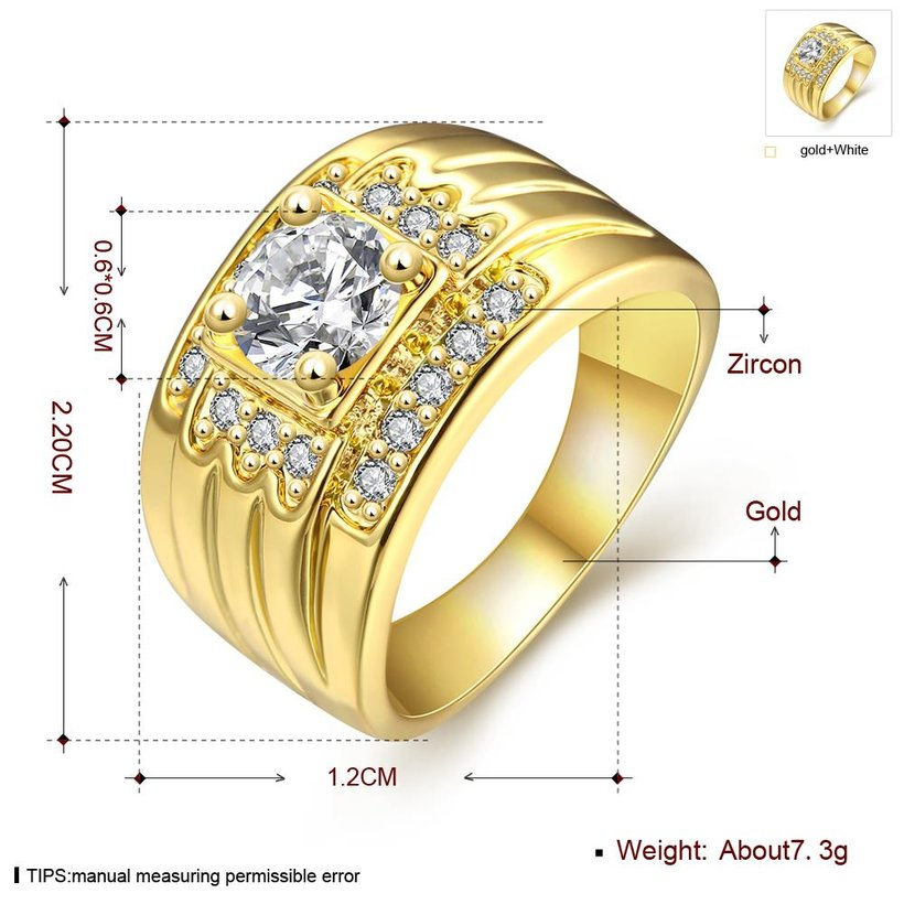 Wholesale Classic 24K Gold Geometric White CZ Ring TGGPR402 2