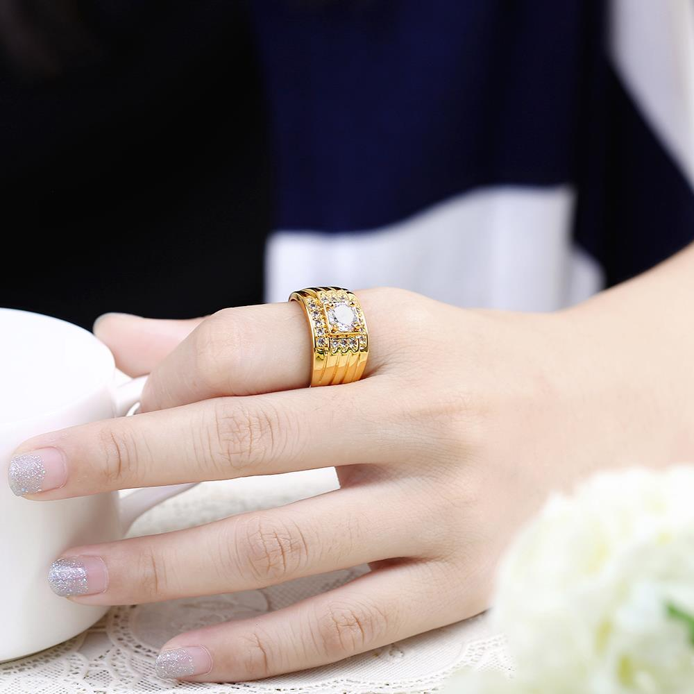 Wholesale Classic 24K Gold Geometric White CZ Ring TGGPR402 4