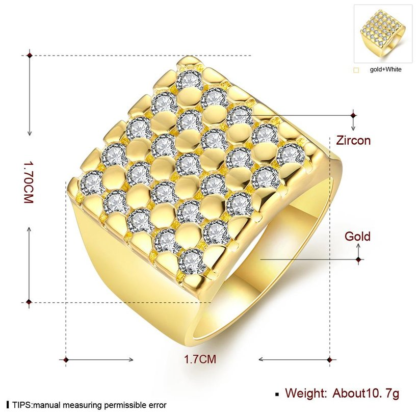Wholesale Classic 24K Gold Geometric White CZ Ring TGGPR413 0