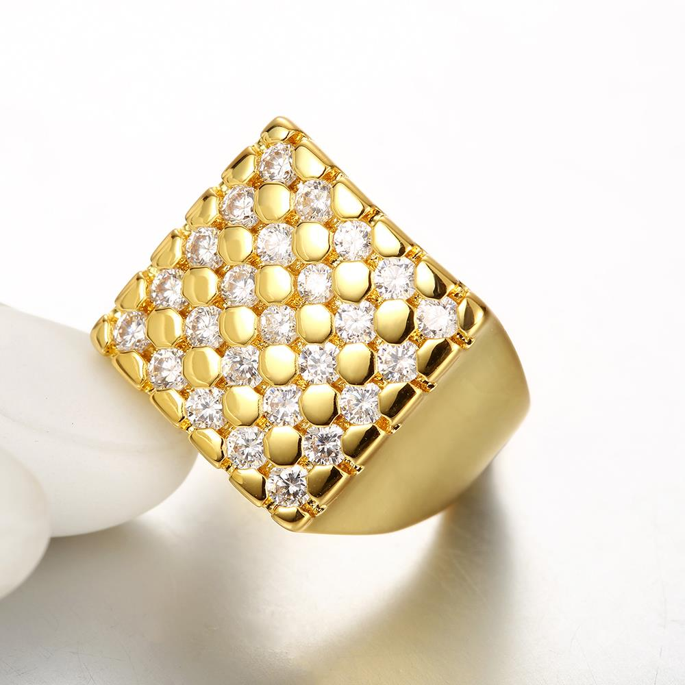 Wholesale Classic 24K Gold Geometric White CZ Ring TGGPR413 1