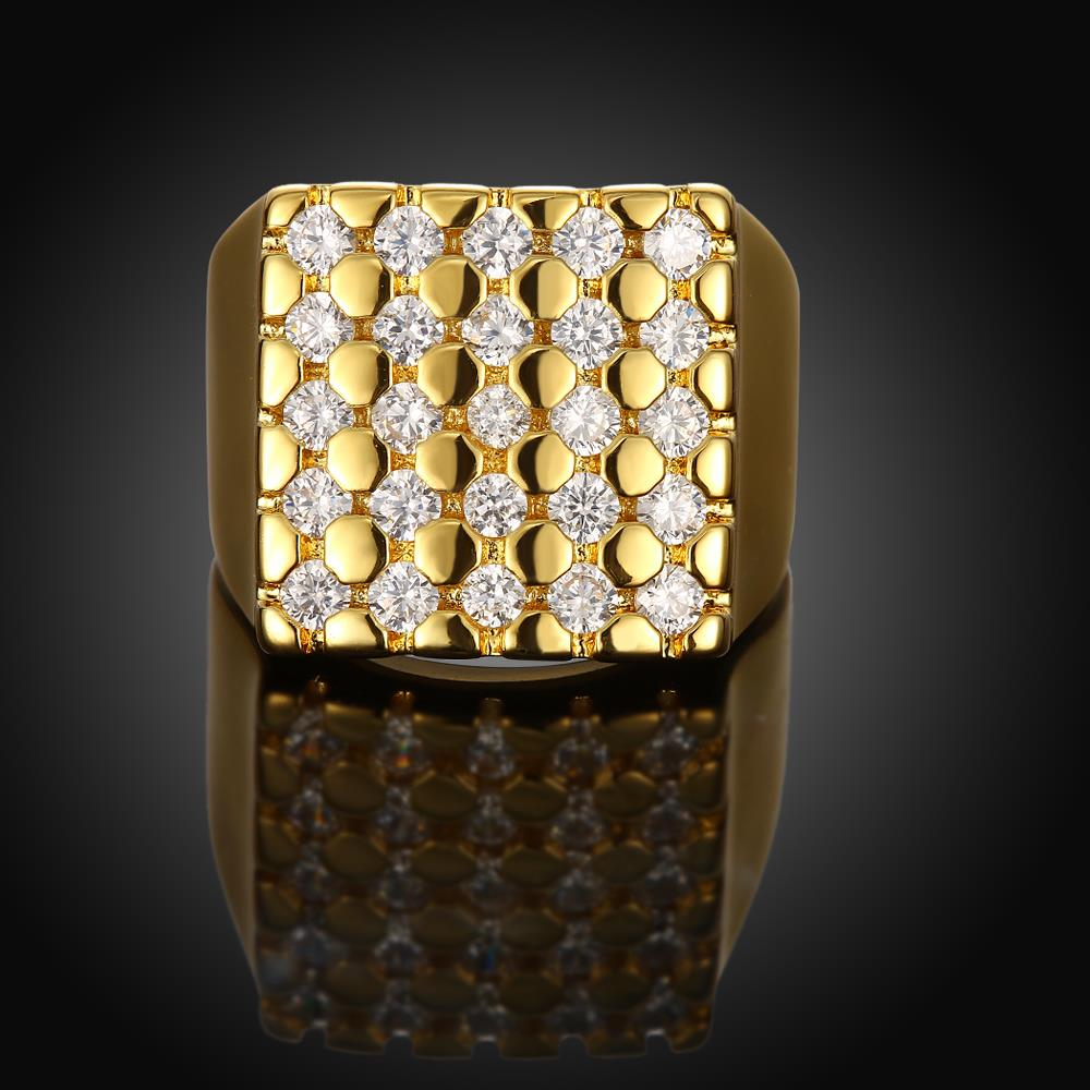 Wholesale Classic 24K Gold Geometric White CZ Ring TGGPR413 2