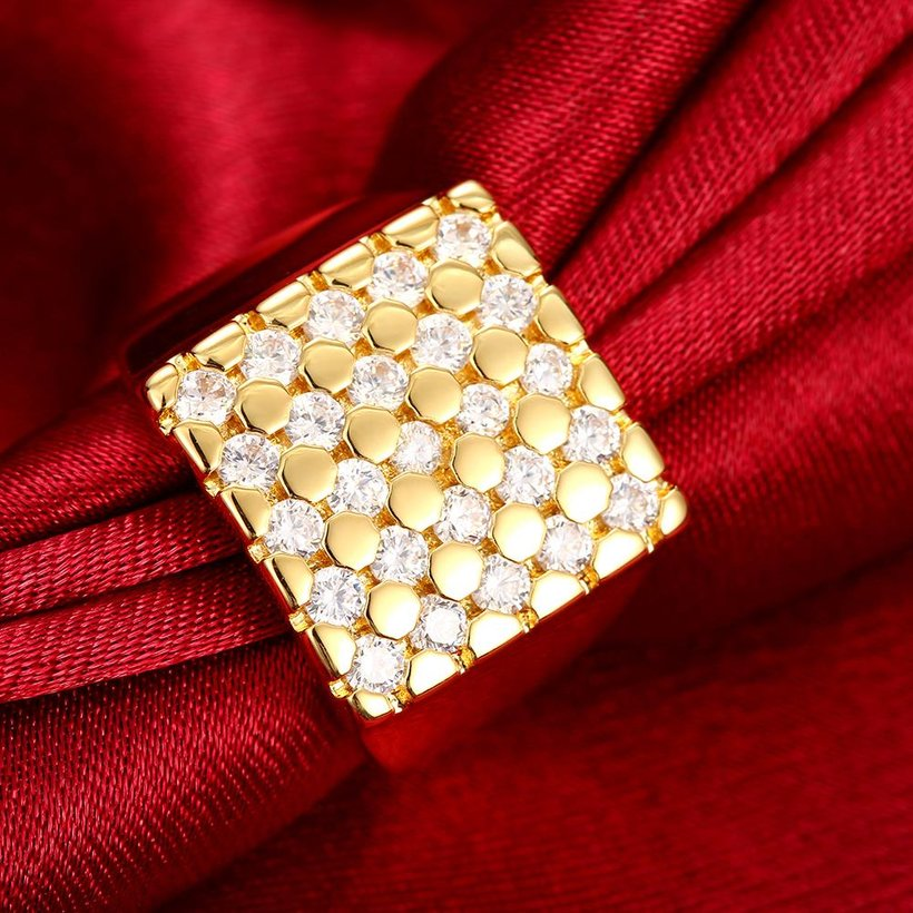 Wholesale Classic 24K Gold Geometric White CZ Ring TGGPR413 3