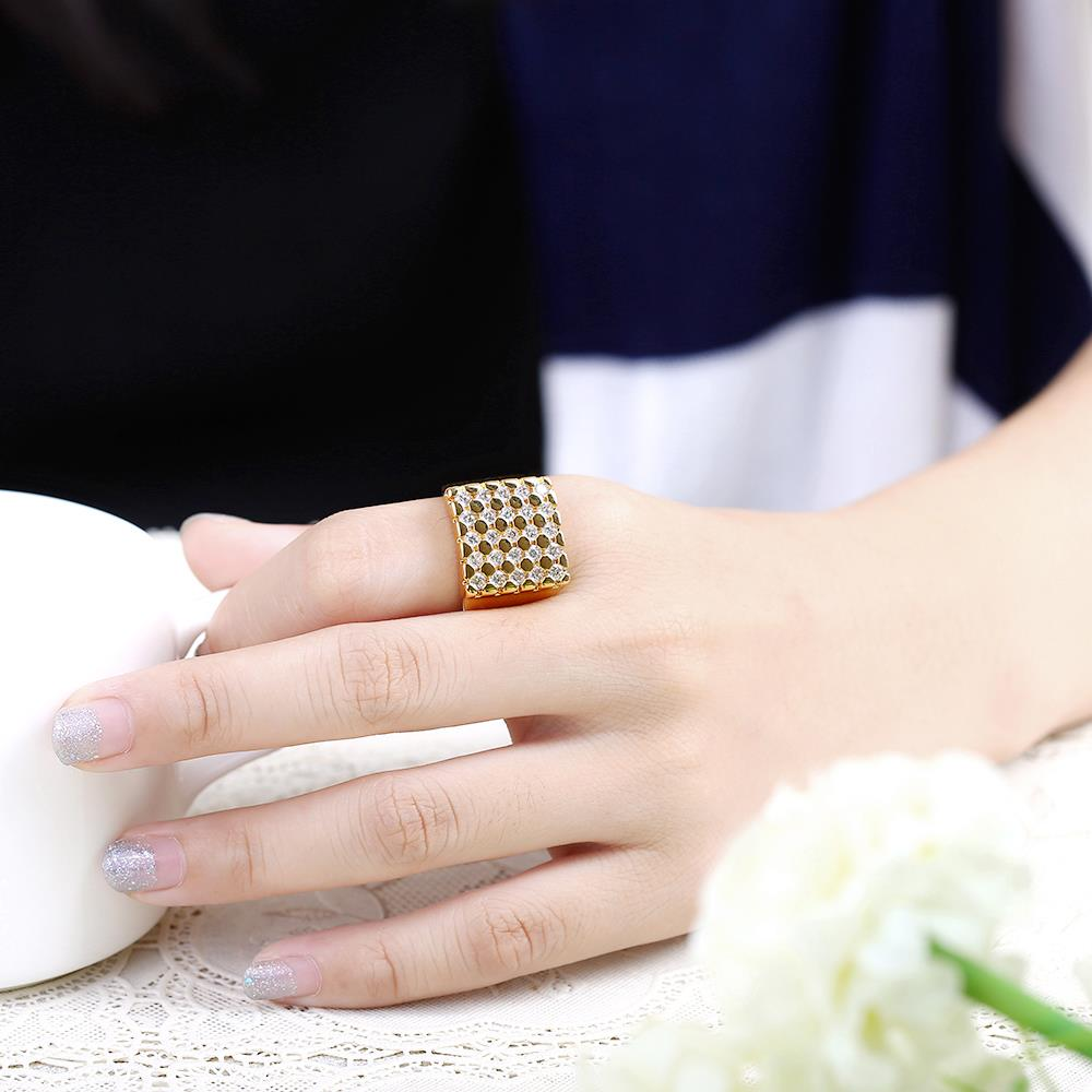 Wholesale Classic 24K Gold Geometric White CZ Ring TGGPR413 4