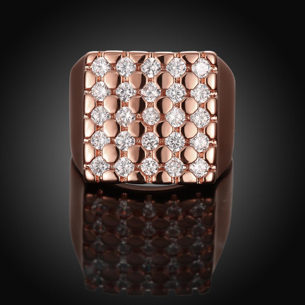 Wholesale Classic Rose Gold Geometric White CZ Ring TGGPR419 0