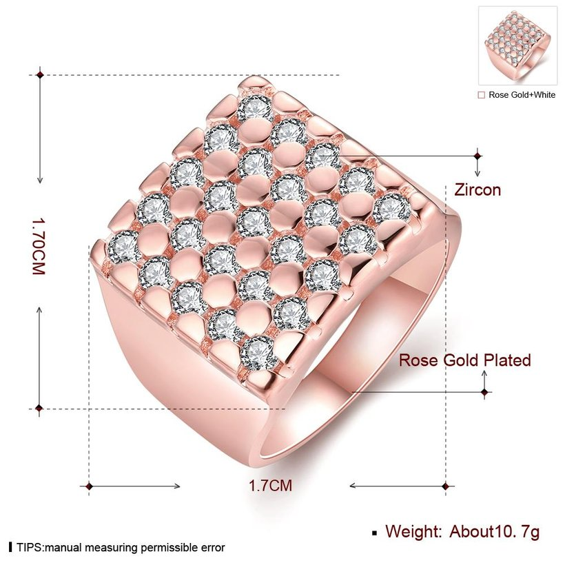 Wholesale Classic Rose Gold Geometric White CZ Ring TGGPR419 1