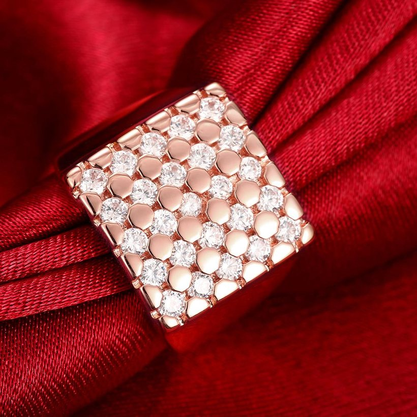 Wholesale Classic Rose Gold Geometric White CZ Ring TGGPR419 2