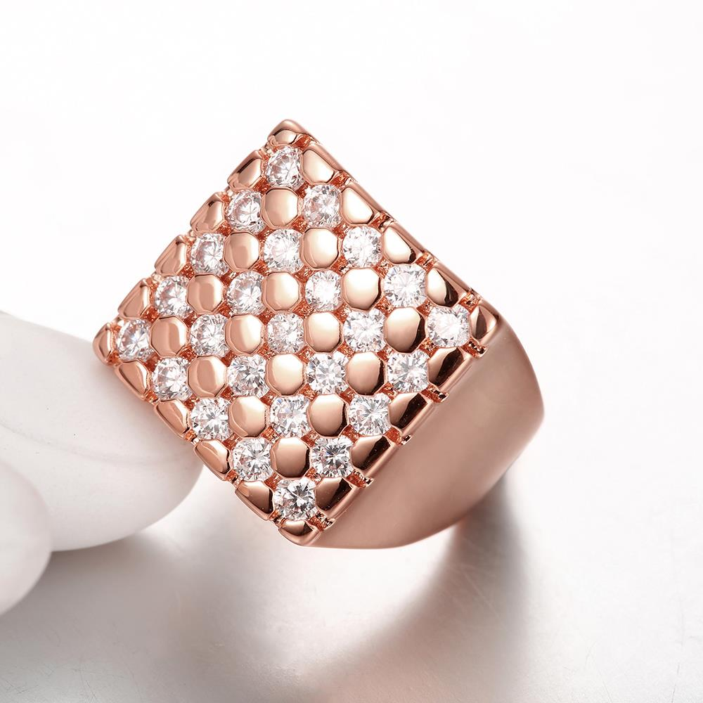 Wholesale Classic Rose Gold Geometric White CZ Ring TGGPR419 3