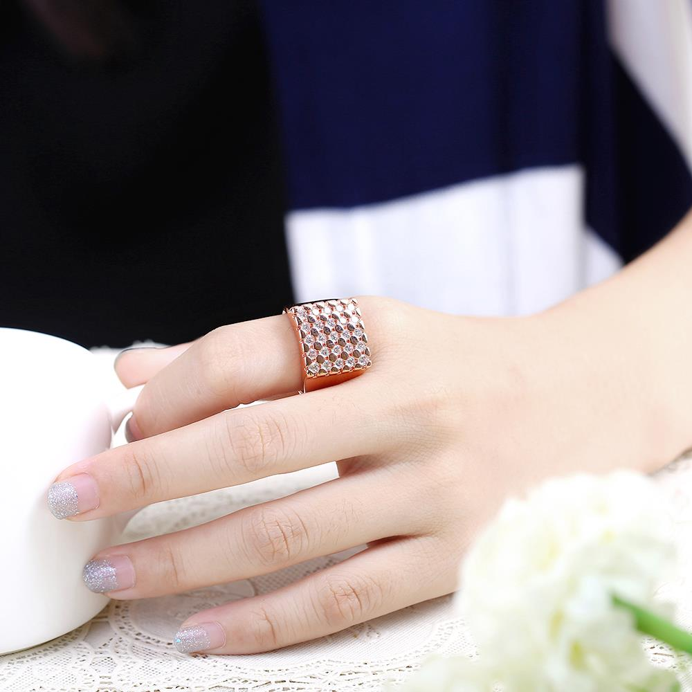 Wholesale Classic Rose Gold Geometric White CZ Ring TGGPR419 4