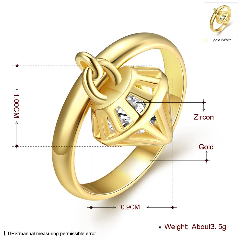 Wholesale Classic 24K Gold Geometric White CZ Ring TGGPR425 3