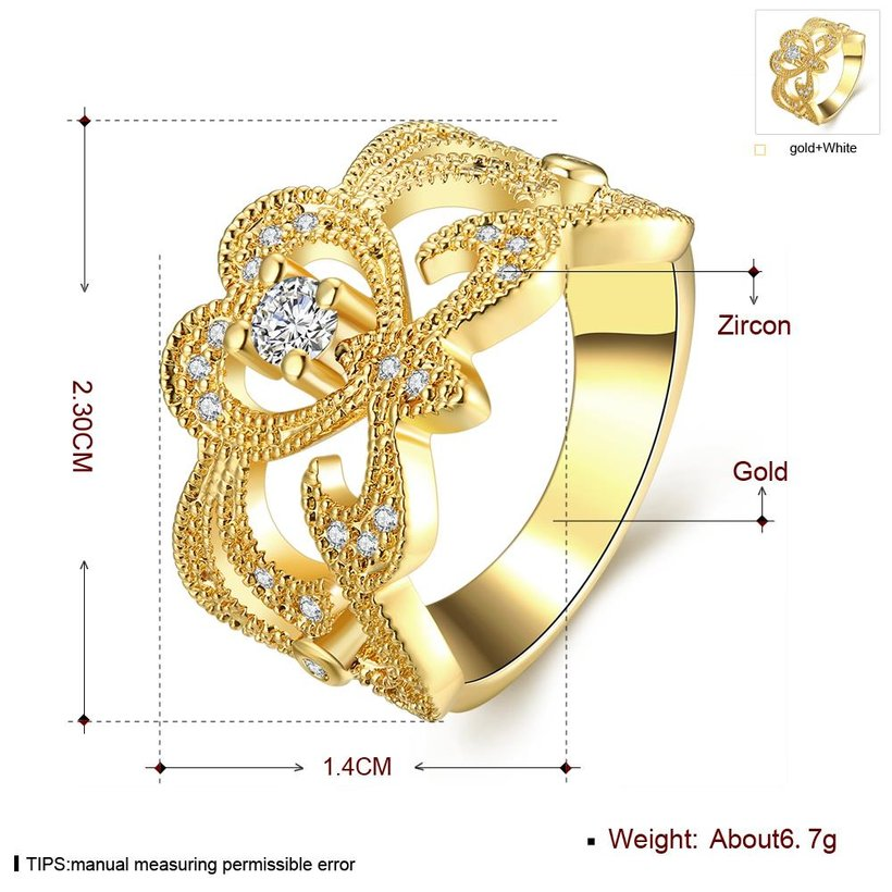 Wholesale Classic 24K Gold Geometric White CZ Ring TGGPR461 0