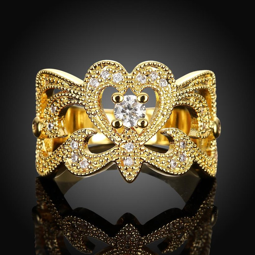 Wholesale Classic 24K Gold Geometric White CZ Ring TGGPR461 1