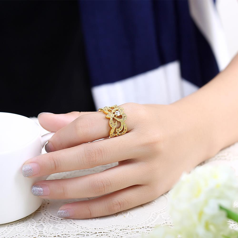 Wholesale Classic 24K Gold Geometric White CZ Ring TGGPR461 2
