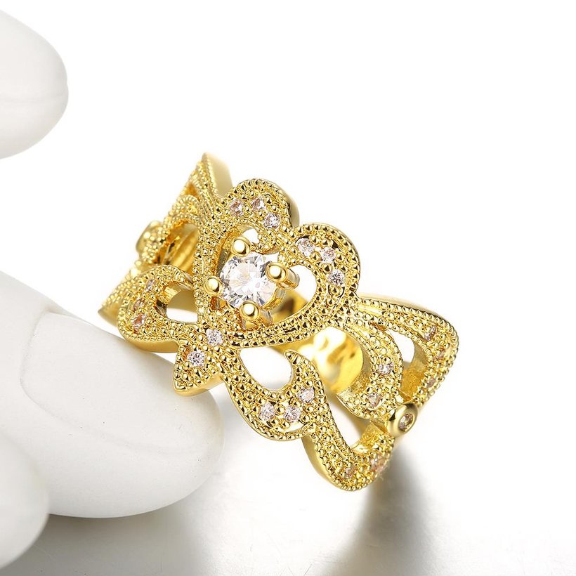 Wholesale Classic 24K Gold Geometric White CZ Ring TGGPR461 4