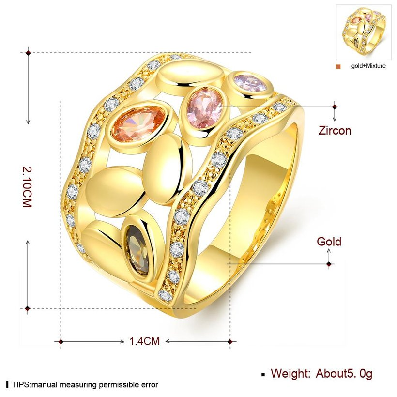 Wholesale Romantic 24K Gold Geometric Multicolor CZ Ring TGGPR490 0
