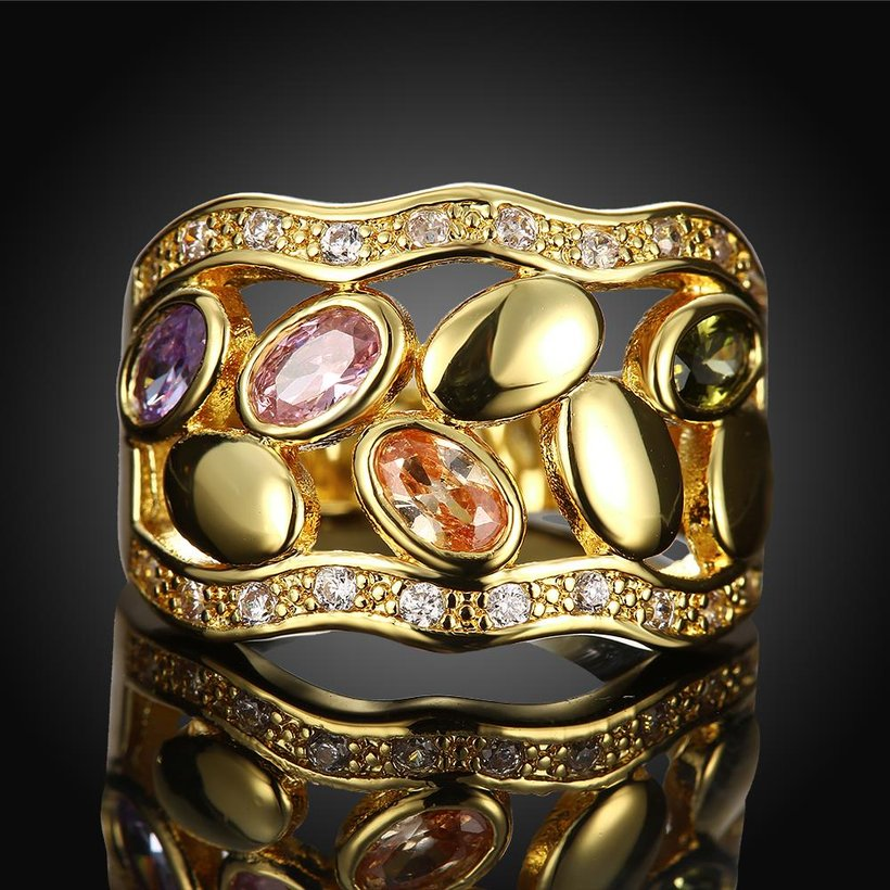 Wholesale Romantic 24K Gold Geometric Multicolor CZ Ring TGGPR490 1