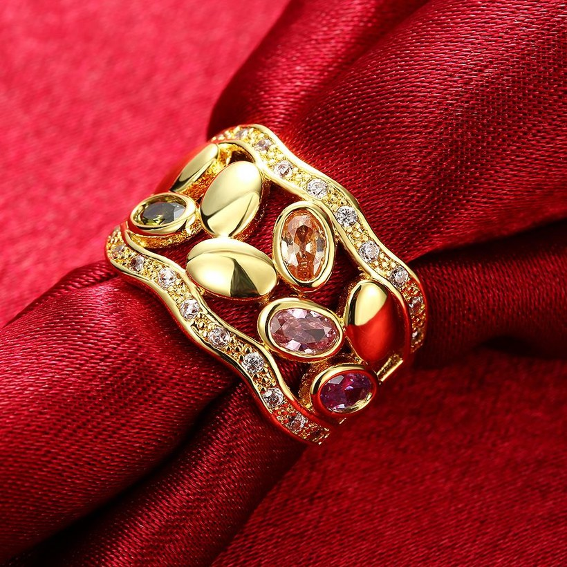 Wholesale Romantic 24K Gold Geometric Multicolor CZ Ring TGGPR490 2