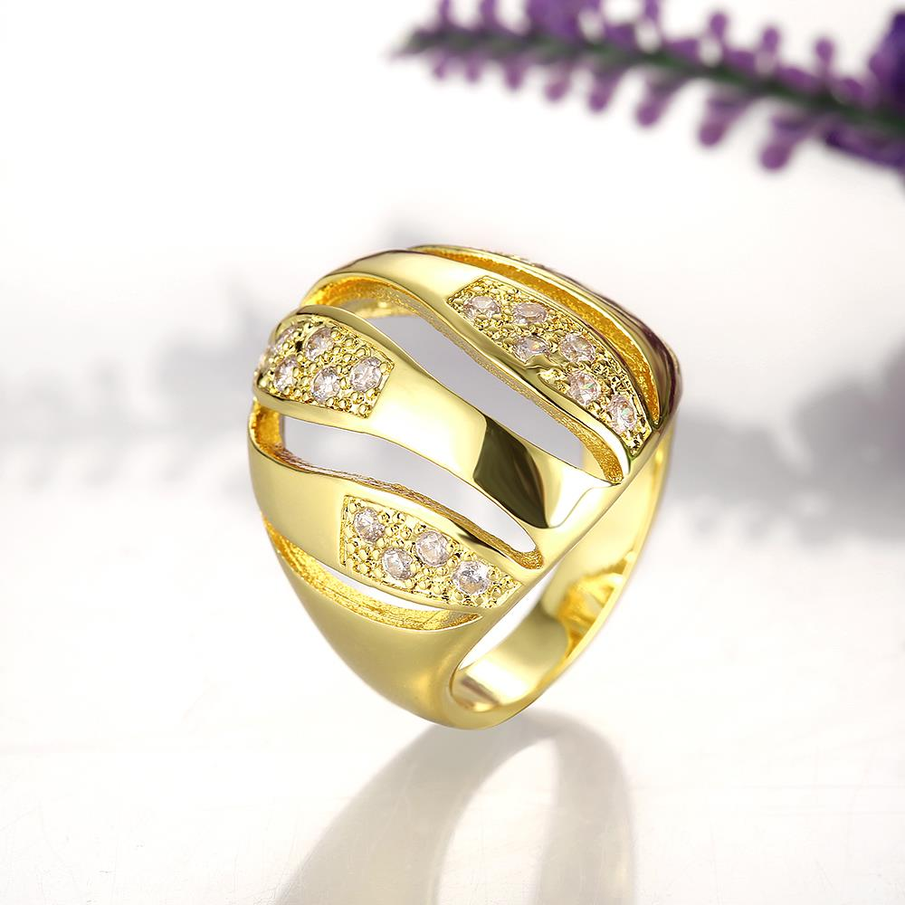 Wholesale Trendy 24K Gold Geometric White CZ Ring TGGPR496 1
