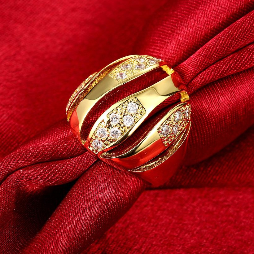 Wholesale Trendy 24K Gold Geometric White CZ Ring TGGPR496 2