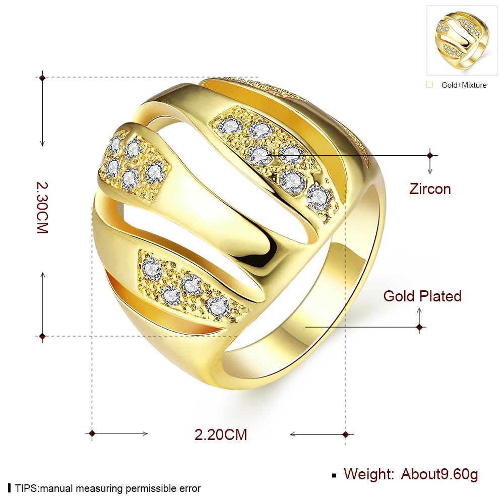 Wholesale Trendy 24K Gold Geometric White CZ Ring TGGPR496 3