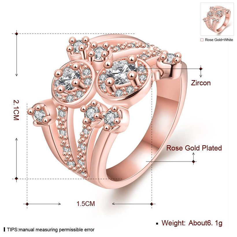 Wholesale Classic Rose Gold Round White CZ Ring TGGPR517 0