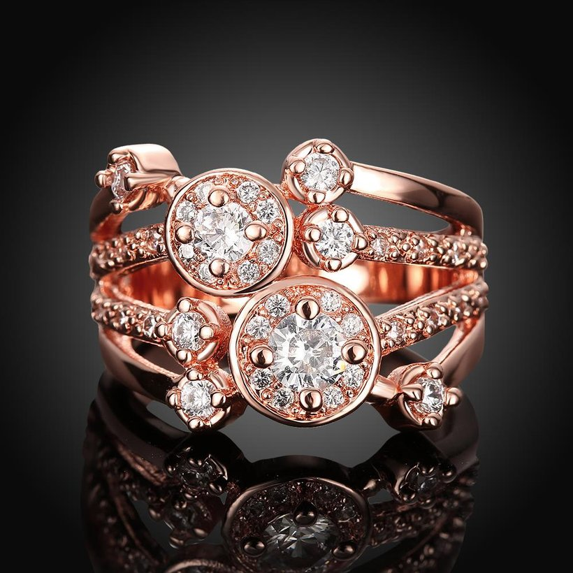 Wholesale Classic Rose Gold Round White CZ Ring TGGPR517 1