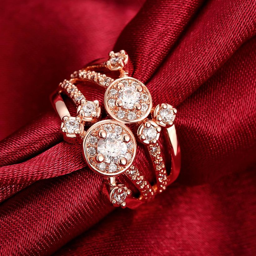 Wholesale Classic Rose Gold Round White CZ Ring TGGPR517 2