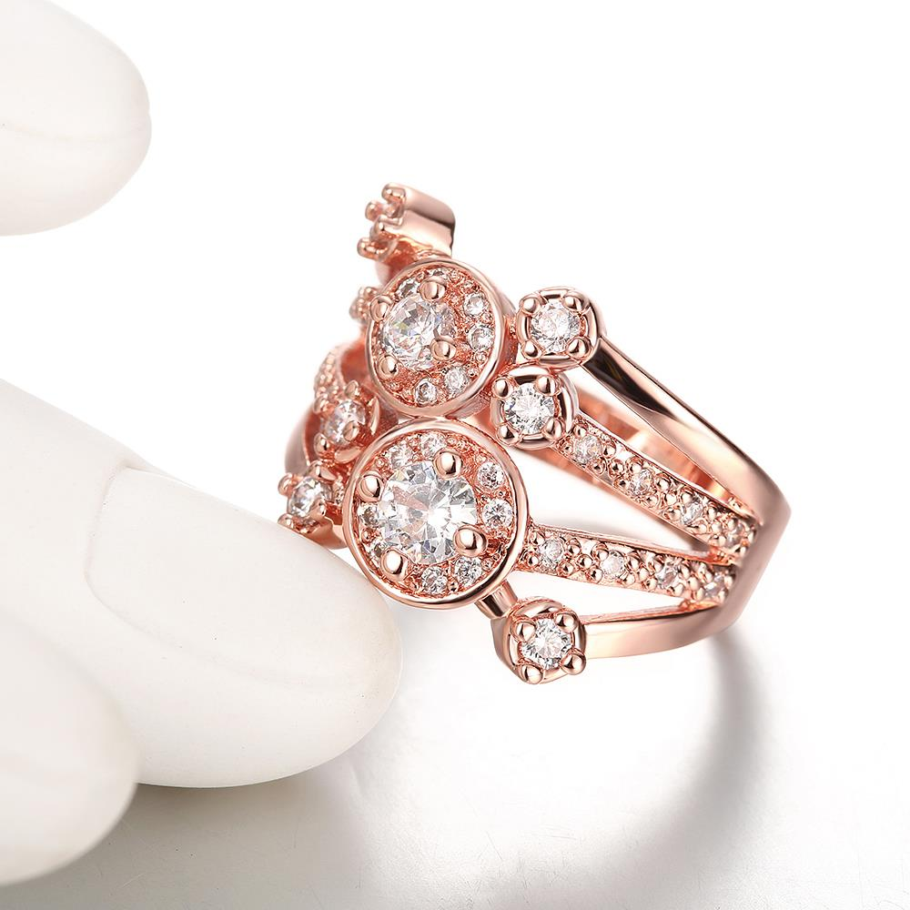 Wholesale Classic Rose Gold Round White CZ Ring TGGPR517 3